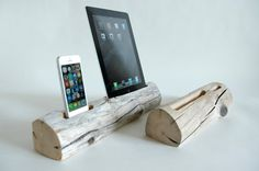 Hey, we can make this.  Driftwood Dock for a Combination of Devices by DOCKSMITH on Etsy, $120.00