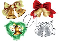 iCLIPART - Clip Art Illustration of a Set of Christmas Bells