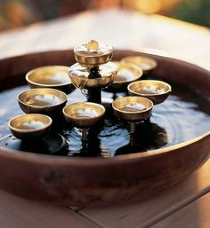 Water Bell Fountain: Designed by professional percussionist and instrument designer Garry Kvistad, this tranquil Waterbell Fountain beautifully combines the relaxing sound of flowing water and the soothing, peaceful chiming of brass bells: http://www.gaiam.com/water-bell-fountain/12-0054.html?utm_source=pinterest&utm_medium=socialmedia&utm_campaign=ptgaiamcom&extcmp=sm_pt_tc.