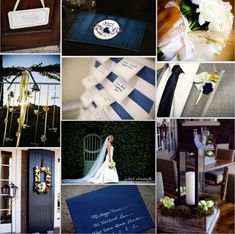 Navy blue + brown = a little rustic and nice for a fall/winter wedding