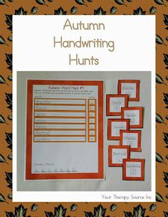 Your Therapy Source: Go on an Autumn Handwriting Hunt - Free Printable. Pinned by SOS Inc. Resources. Follow all our boards at pinterest.com/sostherapy for therapy resources.