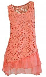 AP Charlye Lace Tunic In Coral