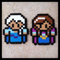 Elsa and Anna - Frozen perler beads by geeky.mermaid