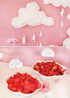 felt-clouds-raindrops-diy brunch beverag, food label, deaven babi, drink, cloud, shower idea, parti idea, babi shower, baby showers