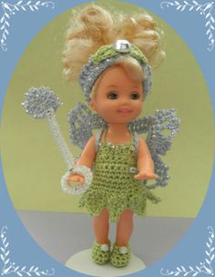 """Crochet Doll Clothes Tinker Kelly Outfit for 4 ½"""" Kelly Same Sized Dolls 