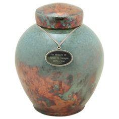 Timeless Turquoise Raku Cremation Urn, Artist Unknown