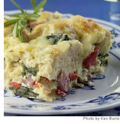 omg yum #webmdsweeps One-third the calories of the traditional ham-and-cheese breakfast strata, this recipe doesn't skimp on flavor to shave off the calories.