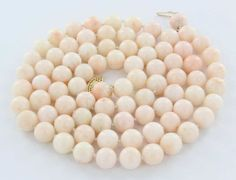 Vintage 14 Karat Yellow Gold Coral Bead Necklace Fine Estate Jewelry Pre-Owned Used