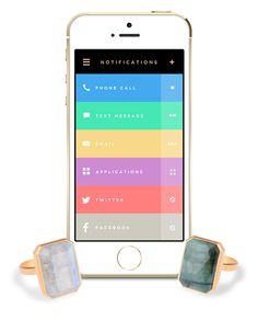 Ringly, a ring with a Bluetooth LE-based light and vibration notification system for customizable iOS-based alerts