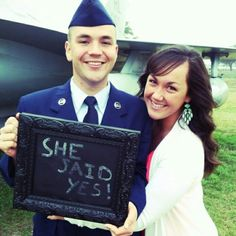 Military Engagement. My son asked his girlfriend to marry him after his graduation from basic!