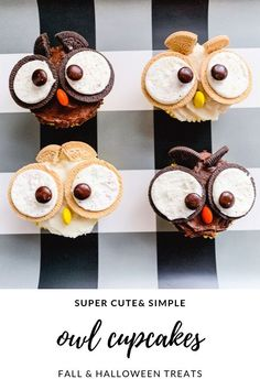 Owl Cupcakes Fall Halloween Treats #falltreats #fallcupcakes #falldesserts #fallpartyideas #halloweencupcakes #halloweenpartyideas #halloweenfood #halloweenpartyfood #fallfood #fallrecipes #halloweenrecipes #halloweencupcakes #fallbaking #halloweenbaking #owls #simplefallrecipes #simplefalltreats #classroomparties #classroompartyideas