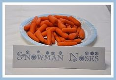 Snowman noses - great blog with for a Snowman themed party and great Christmas ideas, too