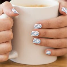 Blue and White Cross Stitch Nail Art