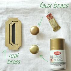 """Rub N' Buff is a waxy metallic finish that comes in several golden shades such as Gold Leaf (depicted), but also look for Antique Gold and European Gold.  Krylon's 'Gold Leaf' is the best metallic gold spray paint I've found to date to mimic brass or give you a warm golden glow on your hardware."" - info on cleaning brass with brasso, lemon/salt"