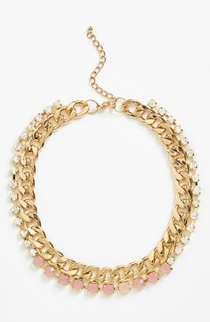 Love the mix of pink stones and crystals on this gold chain collar necklace.
