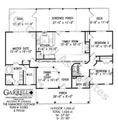 Farmcrest Cottage House Plan # 01082, Floor Plan, Ranch Style House Plans,Traditional Style House Plans