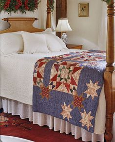 cozy bedroom, red white blue, star quilts, colorful quilts, patchwork quilting, all people quilt, redwhiteblu quilt, blue quilts, americana quilt