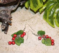 *^* Holly Long Drops - Hand Made Christmas Earrings *^*