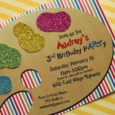 Art pARTy Invitation-art, palette, artist, birthday, invitation, party, magnolia, magnolia creative co,