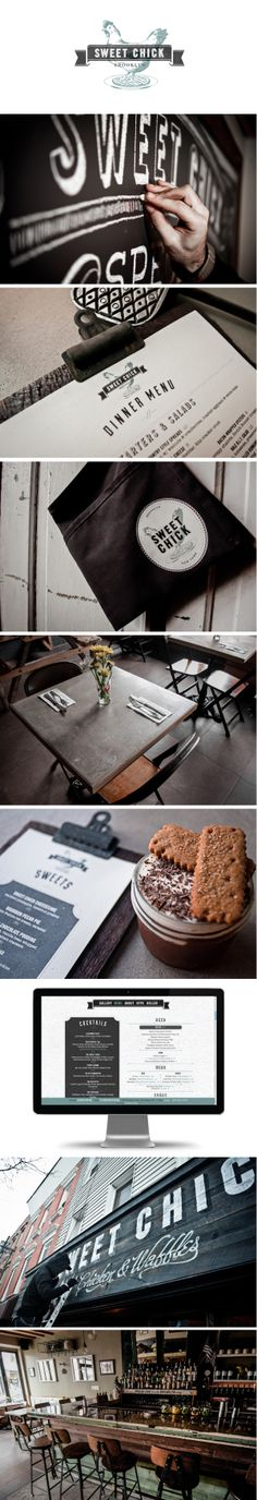 The rustic hand-painted signage is an outstanding touch of the Sweet Chick restaurant identity. Curated by: Transition Marketing Services | Small Business Branding & Marketing Professionals http://www.transitionmarketing.ca