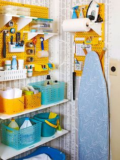 Make short work of cleaning by storing items in easy-to-transport caddies in a central closet.