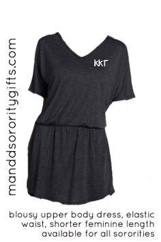 Kappa Kappa Gamma Sorority Dress with Greek Letters. Wear it with boots, flip-flops, leggings and many other stylish ways. The super soft feel of this dress will make it your go to sorority dress. Made of 65% polyester, 35% viscose. Loose fitting, short dress. $36.98