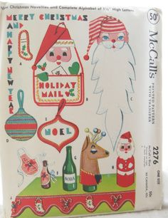 Retro Christmas Decorations Vintage Sewing Pattern: McCall's 2276