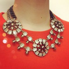 Stella & Dot Estate Bib Necklace looks gorgeous over burnt orange www.stelladot.com/andreaseeman