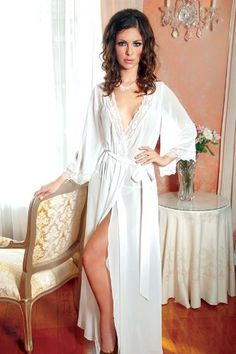 ICOLLECTION LINGERIE 8069 Chiffon long robe with 3/4 sleeves and lace trim detail. Panty not included. - List price: $63.29 Price: $38.26 Saving: $25.03 (40%)