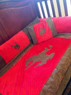 Baby boy crib set :)  7 piece western baby bedding set on Etsy, $150.00