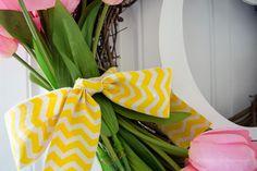 Monogram Spring Wreath. Love the yellow chevron! #spring #wreath
