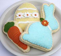 Felt Cookie Easter Spring Bunny Egg Carrot Aqua