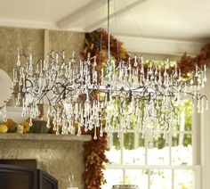 dining rooms, winter trees, light fixtures, glass, branch chandeli, tree branches, kitchen, crystal, pottery barn