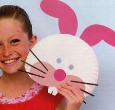 Máscaras de coelho com prato descartável - Pra Gente Miúda