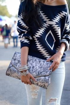 fashion, pattern, blue, outfit, clutch, casual looks, oversized sweaters, tribal prints, shirt