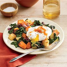 Vegetable and Greens Hash with Poached Egg   CookingLight.com #myplate, #vegetables, #protein
