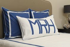Monogram pillows - perfect in a #bigboyroom!