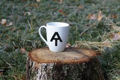 Appalachian Trail Logo Hand Painted Coffee Mug Black and White Hiking. $10.00, via Etsy.
