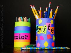 Beat end-of-summer blues by helping kids create their own workspace for study. Crafts by Amanda recycled cans into pencil and marker holders with glue dots and bright paper.