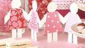 Create a chain of paper dolls to decorate a nursery wall - Martha Stewart Crafts Pink party