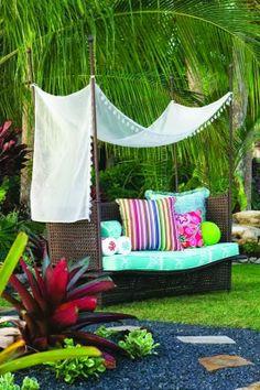 canopi, outdoor seating, backyard idea, patio, outdoor spaces, garden, loung, caribbean, bright colors