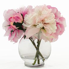 Silk Peonies Artificial Faux Arrangement with Fuchsia by flovery, $39.00