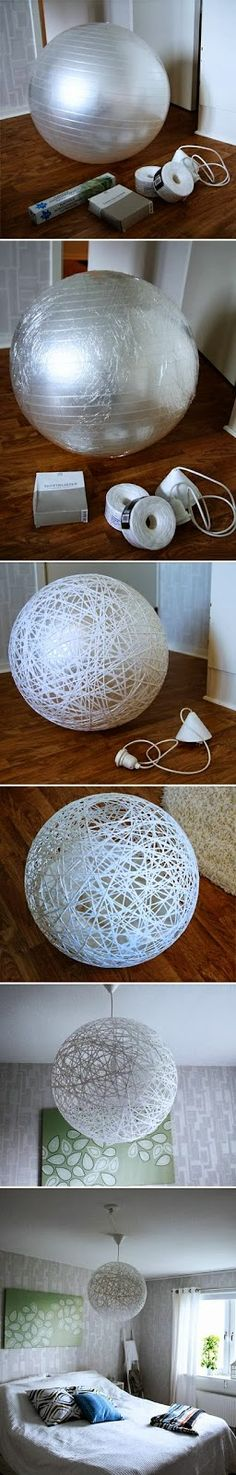 My DIY Projects: Do it yourself : make beautiful lampshade from string (projects, crafts, DIY, do it yourself, interior design, home decor, fun, creative, handmade, homemade, lamp)