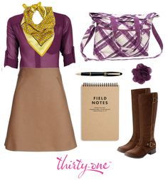 9-to-5 style never looked better! Accessorize a plum button-up shirt and camel-colored skirt with a standout scarf, riding boots and a Retro Metro Fold-Over in Plum Plaid. Add a Floral Clip for an extra touch of color!