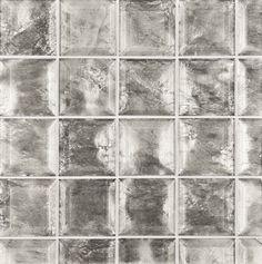 "ANN SACKS Michael S Smith Gilt 3"" x 3"" beveled brick glass field in platinum"