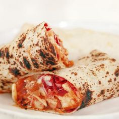 Tequila-Orange BBQ Chicken Burritos with Sharp Cheddar, Baked Beans and Red Cabbage Recipe