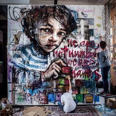 """by Herakut + Samantha Robinson - For exhibition Colors of Resilence - """"We are not numbers we are names"""" - Jun 2014"""