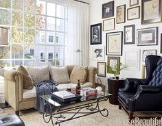 House Beautiful picture arrangements, frame, galleri, window, gallery walls, black white, picture walls, hous, live room