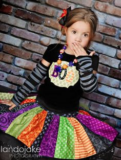 Halloween twirl skirt and applique shirt.  Cute!