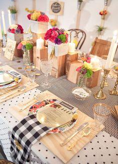wedding tables, table settings, polka dots, centerpiec, polka dot wedding, wood blocks, cream, bright colors, parti
